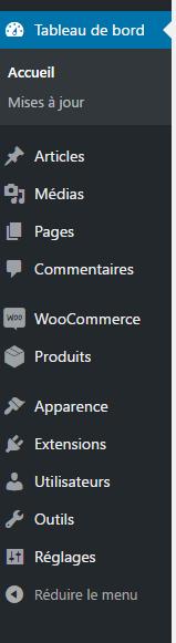 menu WP - simplicité de gestion